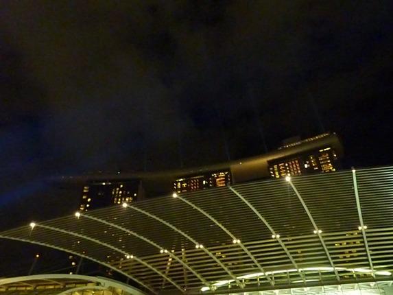 sinar laser ditembakkan dari menara Marina Bay Sands dan atap kanopi di luar mall untuk wonder full sho ini. kami duduk beberapa meter di depan kanopi ini dan mendongak melihat kerennya konsep teknologi terpadu ini..